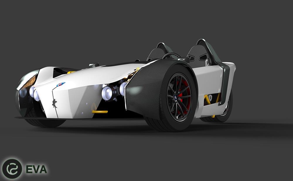 Компанией Girfalco был продемонстрирован трехколесный спортивный электрокар модели Azkarra.