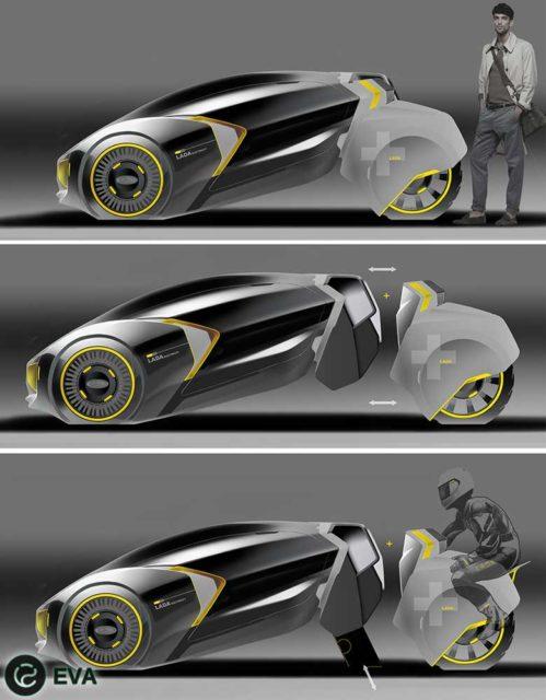 Фото концепта Lada - L-Ego при отделении задних колес-моноциклов