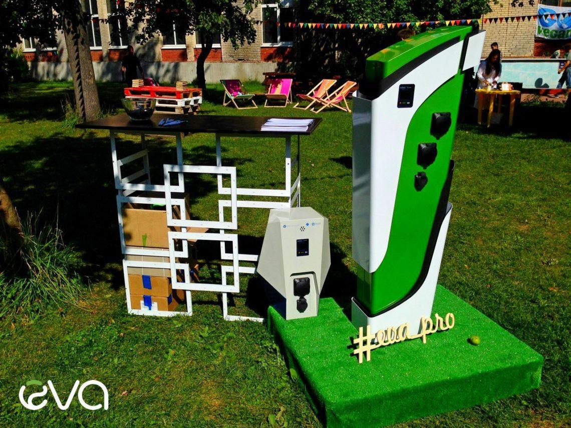 Фоторепортаж: российская электрозаправка EVA на экофестивале Green Village